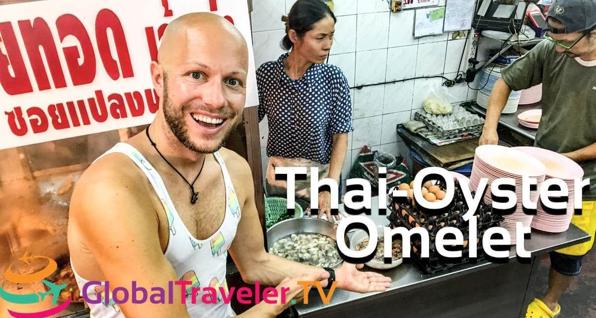 Thai Oyster Omelet bei Nai Mong Hoy Tod Bangkok Thailand Street Food