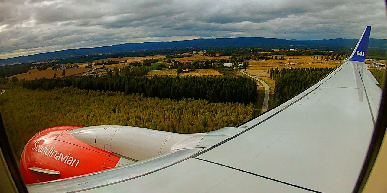 Beautiful SAS 737-700 Winglets Emergency Exit View HAM-OSL