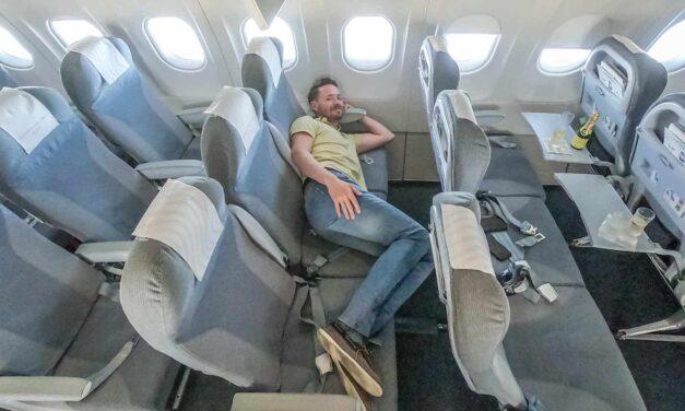 Allein in der Finnair Business Class der A321 von Berlin nach Helsinki