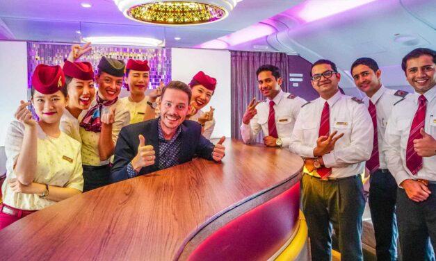 Qatar fliegt mich in der Business Class im A380 nach Hause!