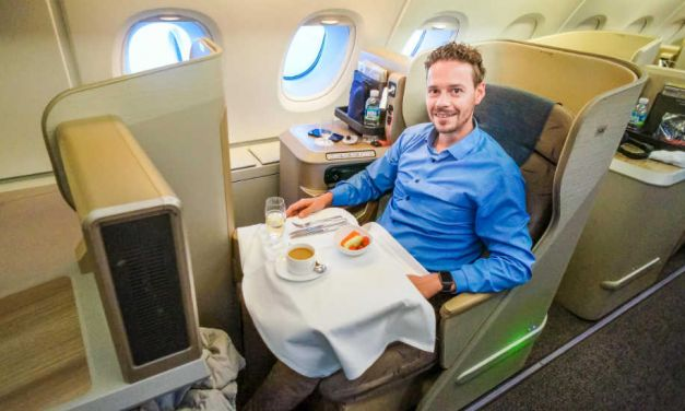 In der Asiana Business Class im A380 von Sydney nach Seoul