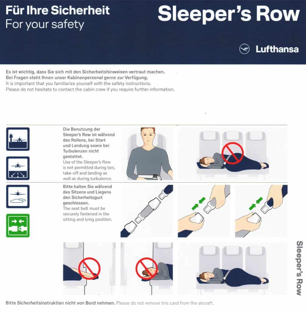 Lufthansa Sleeper's Row Safety Card